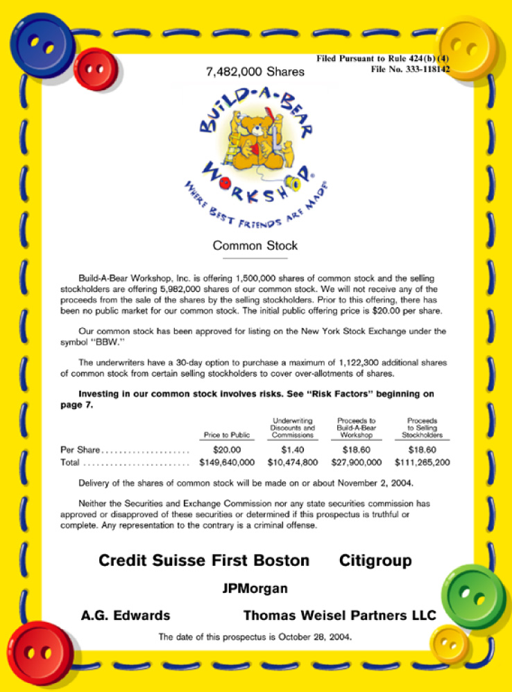 Build a bear workshop inc form 424b4 received 10 29 2004 06 19 31