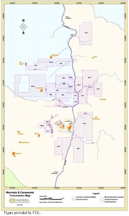 Figure 4.2. Marmato Property Mineral Concession Map