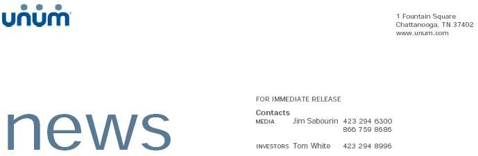 Unum Group Logo. LOGO. Unum Chief Investment Officer announces resignation. Former CIO Fussell will return to the company on interim basis